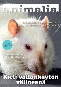 Animalia-lehden kansi 3/2020. Kannessa lähikuvassa valkoinen rotta.