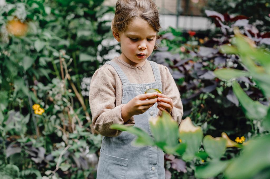 Lapsi on puutarhassa ja katsoo hedelmää kädessään.  Ilmastoystävällinen ruoka on tulevaisuutta.